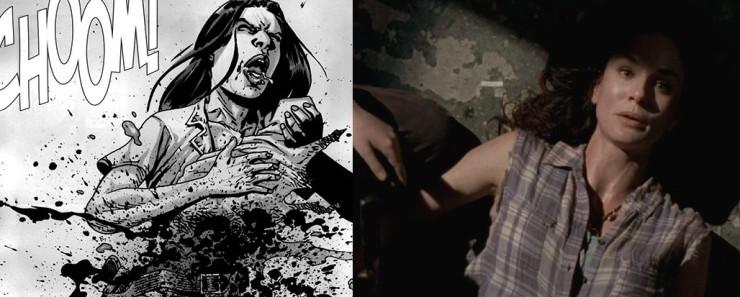 diferencias entre el cómic The Walking Dead y la serie lori muerte